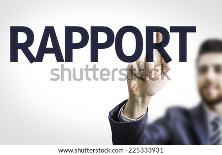 Business man pointing to transparent board with text: Rapport - stock photo