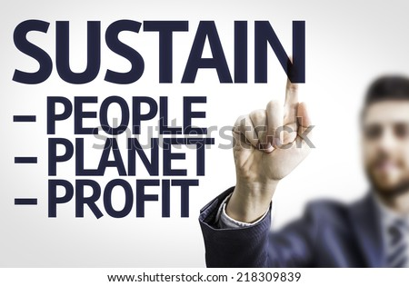 Business man pointing to transparent board with text: Sustain Descriptions - stock photo