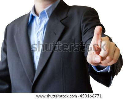 business man pointing touching empty virtual screen isolated on white background - stock photo