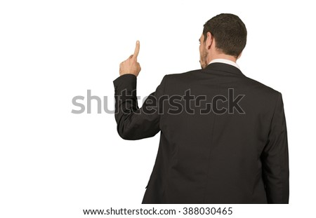 Business man pointing up in white background isolated - stock photo