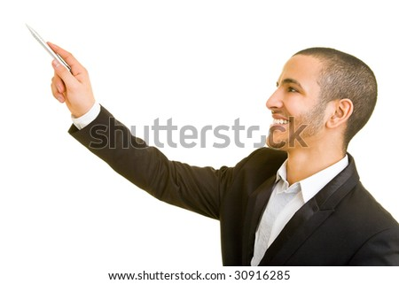 Business man pointing with a pen while holding a presentation - stock photo