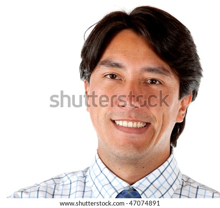 Business man portrait isolated over a white background