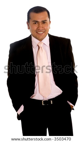 business man portrait smiling - isolated over a white background - stock photo