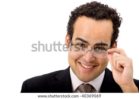 Business man portrait wearing eyeglasses isolated on white - stock photo