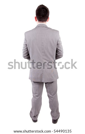 Business man posing backwards isolated over white - stock photo