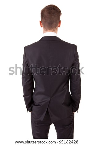 Business man posing backwards, isolated over white - stock photo