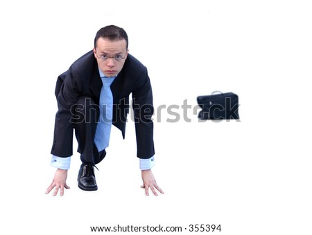 business man prepared to race - stock photo