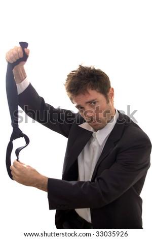 business man preparing to take drastic steps ending it all - stock photo