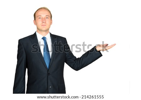 Business man presenting copyspace over a white background  - stock photo