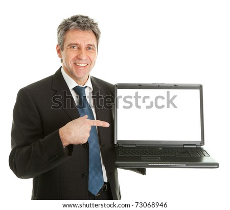 Business man presenting laptopn - stock photo