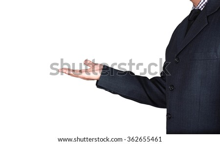 business man presenting something on white background - stock photo