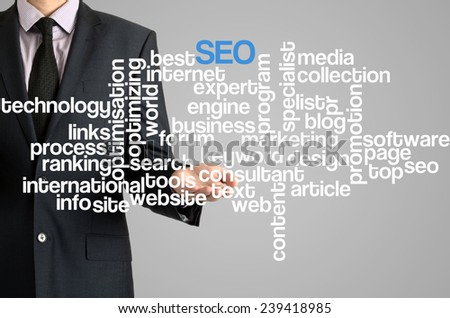 Business man presenting wordcloud related to SEO on virtual screen - stock photo