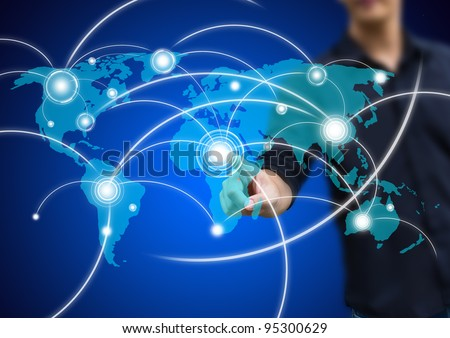business man pressing a social network button - stock photo