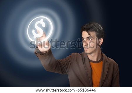 Business man pressing money button - stock photo