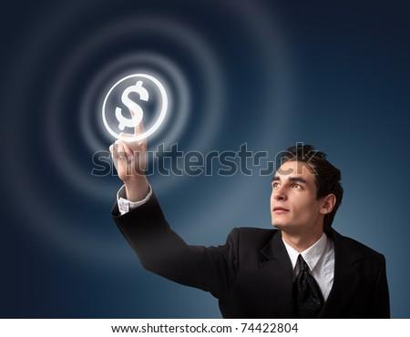 business man pressing money button - stock photo