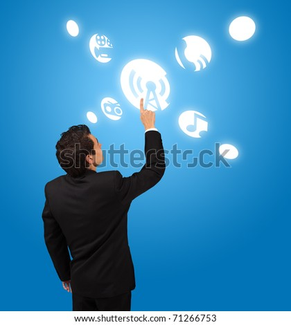 business man pressing Signal button - stock photo