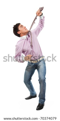 Business man pull himself by tie man wearing jeans, shirt and tie, isolated on white - stock photo