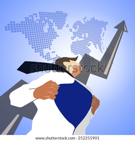Business man pulling his t-shirt open, showing superhero suit with arrow and world map - stock photo