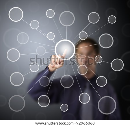 business man push centric link circle touch screen button - stock photo