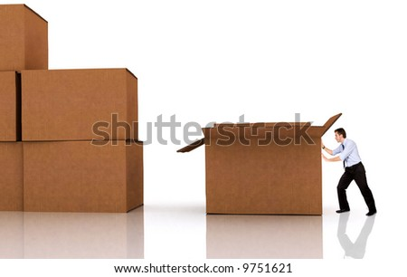 business man pushing a box - isolated over a white background - stock photo