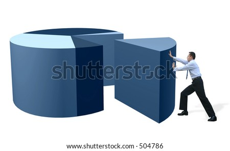 business man pushing a slice of a pie chart - stock photo