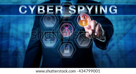 Business man pushing CYBER SPYING on an interactive touch screen monitor. His left hand is highlighting investigative tool icons. Computer security concept for sabotage and espionage in cyber space. - stock photo
