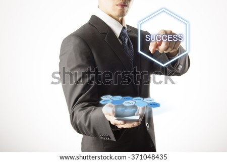 Business Man pushing on a touch screen interface.info graphic on isolate white background - stock photo