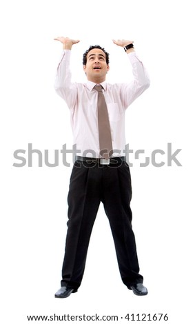 business man pushing something up isolated over a white background