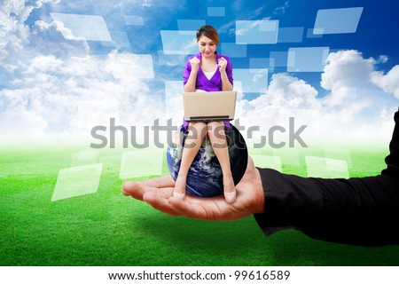 Business man put secretary on grass field : Elements of this image furnished by NASA - stock photo