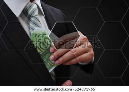 Business man  putting euro banknotes in suit pocket with virtual panel of icon polygon interface , business concept