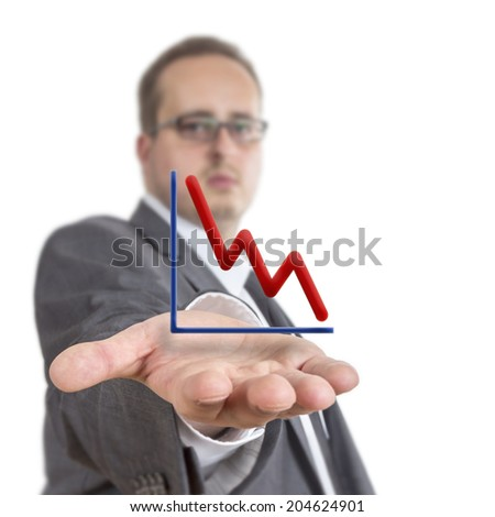 Business man reaches out his arm with a stock exchange graph going downwards  floating over his hand. Isolated on White Background