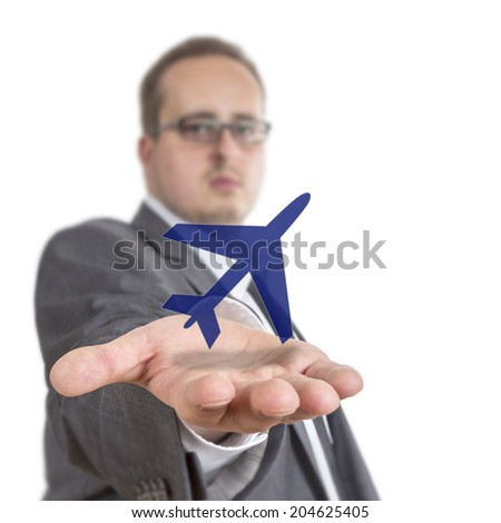 Business man reaches out his arm with an aircraft symbol floating over his hand. Isolated on White Background - stock photo