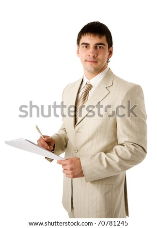 Business man reading contract isolated on white - stock photo