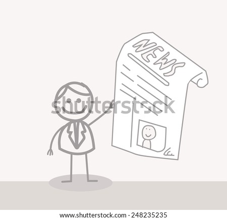 Business Man Reads News - stock photo
