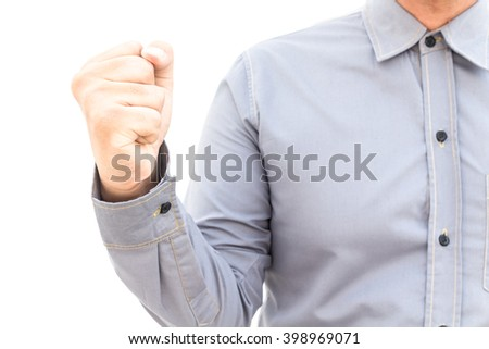 Business man ready to fight and win isolated on white background - stock photo