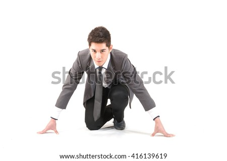 Business man ready to go by, startup business concept- isolated over a white background