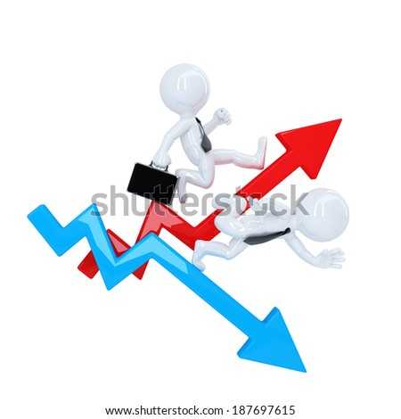 Business man run over graph arrow. Rise and fall concept. Isolated. Contains clipping path - stock photo