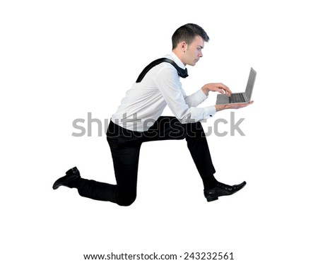 Business man run with laptop - stock photo