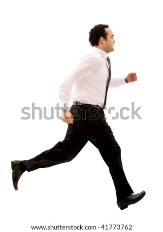 Business man running isolated over a white background