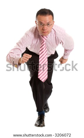 Business man running towards the camera over a white background - stock photo