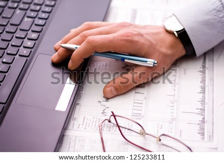 Business man's hand - stock photo