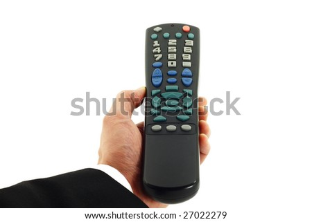 Business man's hand holding a remote control device isolated on white - stock photo
