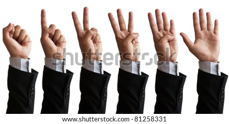 Business man's hand sign isolated on white - stock photo
