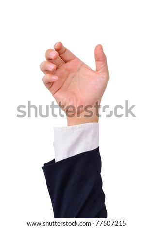 Business man's hand to hold card, mobile phone, tablet PC or other palm gadget, isolated on white - stock photo
