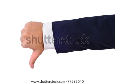 Business man's thumb down hand sign isolated on white - stock photo