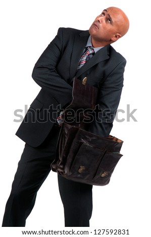 business man searching brief case - stock photo