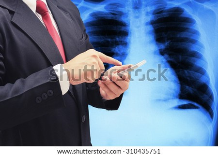 business man searching medical data - stock photo