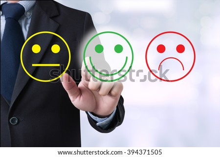 business man select happy on satisfaction evaluation?  hand touchhappy - stock photo