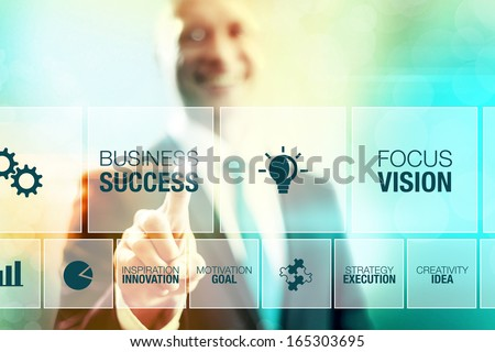 Business man selecting success concept pointing interface - stock photo