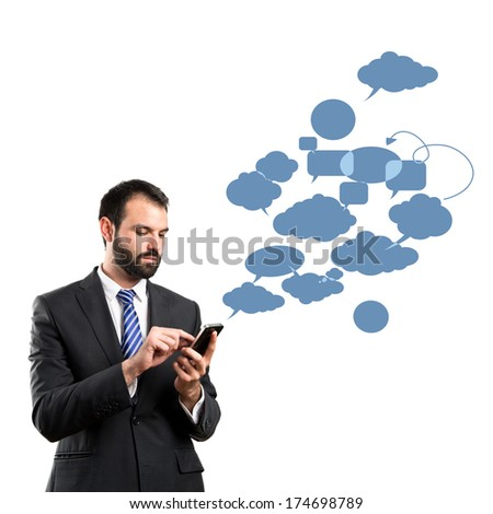 Business man sending a message over isolated background.  - stock photo